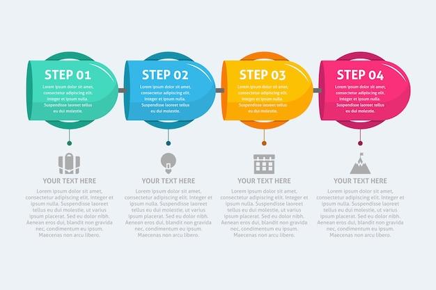 Pasos infográficos en diseño plano