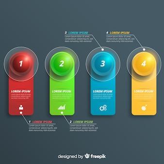 Pasos infográficos en diseño realista