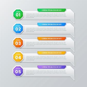 Pasos infográficos de gradiente coloful