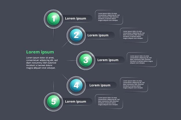 Pasos infográficos de gradiente de plantilla