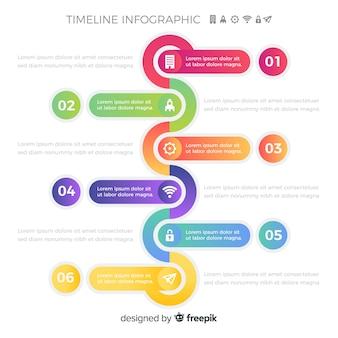 Pasos infográficos de línea de tiempo colorido