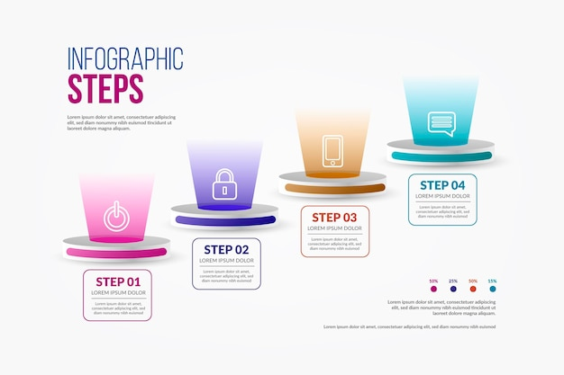 Pasos infográficos con pictogramas minimalistas.