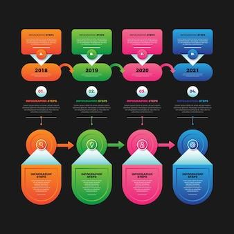 Pasos infográficos de plantilla de degradado