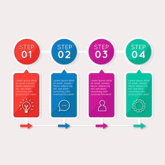Pasos infográficos de plantilla de diseño plano