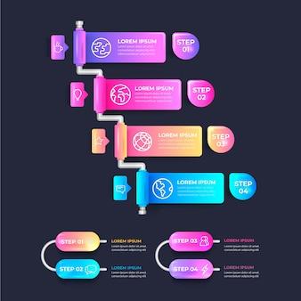 Pasos infográficos realistas brillantes