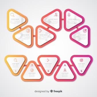 Pasos infográficos de triángulo degradado y cuadros de espacio de copia
