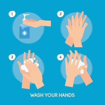 Pasos para lavarse las manos con frecuencia, pandemia de coronavirus, autoprotegerse de covid 19, lavarse las manos para prevenir 2019 ncov