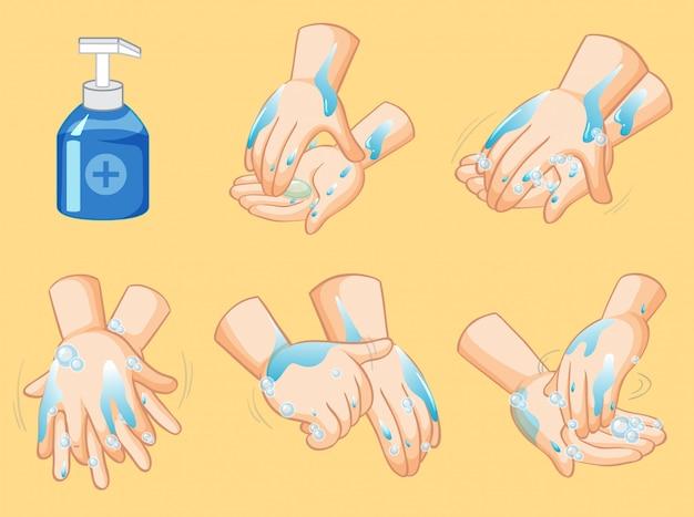 Pasos para lavarse las manos.