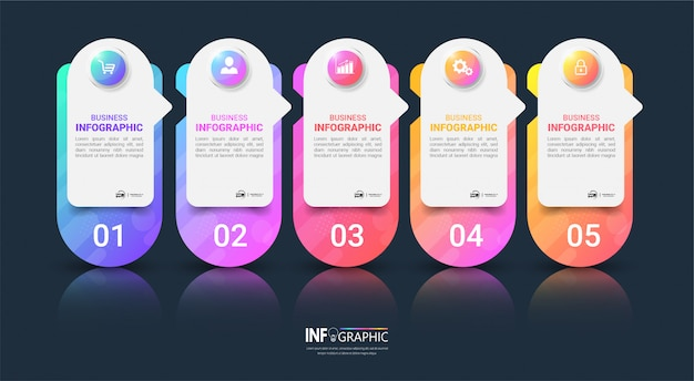 Pasos modernos de infografía empresarial