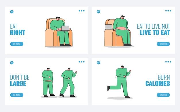 Pasos de pérdida de peso del hombre. gordo perezoso corriendo para adelgazar perdiendo masa. el personaje de dibujos animados del estilo de vida sedentario comienza a correr y se pone en forma