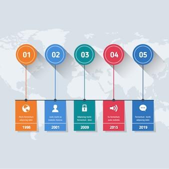 Pasos planos de infografía en el mapa mundial