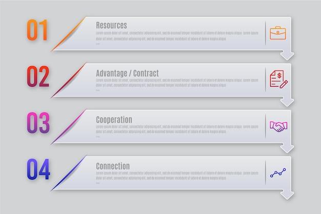 Pasos planos de infografía