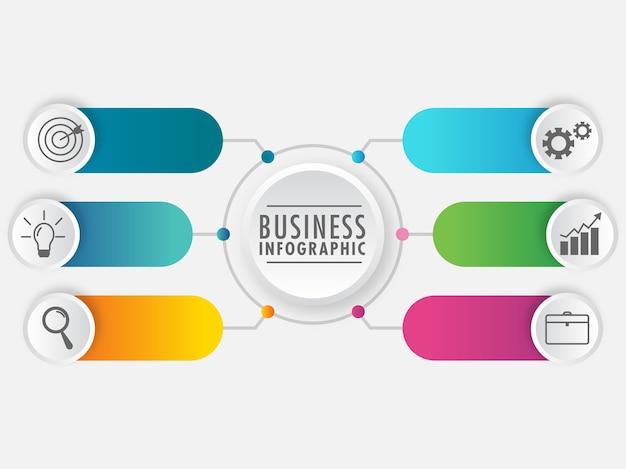 Pasos presentación de elementos de infografía empresarial sobre fondo blanco.