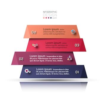 Pasos de presentación y superposición de cuadrados para una comprensión clara y accesibilidad de la información.