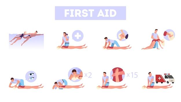 Pasos de primeros auxilios en situación de emergencia. masaje cardíaco o rcp
