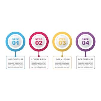 Pasos de proceso de marketing moderno negocio plantilla de infografía