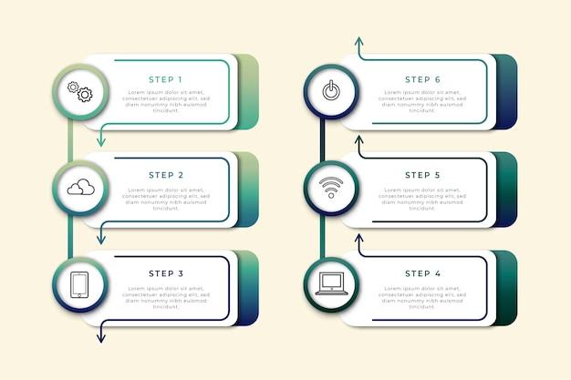 Pasos profesionales de infografía plana
