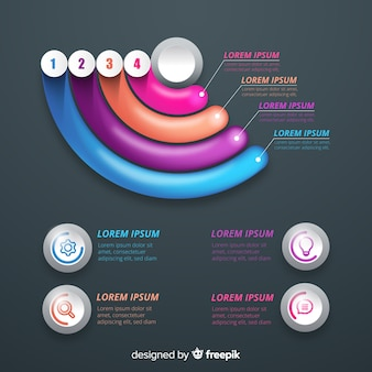 Pasos realistas de infografía brillante