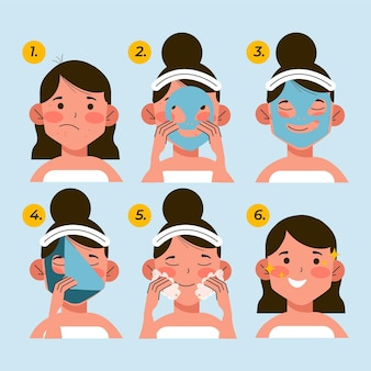 Pasos de la rutina de cuidado de la piel de la mujer