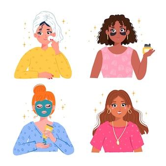 Pasos para la rutina del cuidado de la piel de la mujer