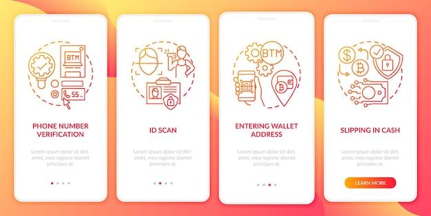 Pasos de verificación de cajeros automáticos de bitcoin incorporando la pantalla de la página de la aplicación móvil con conceptos. compra de efectivo o tarjeta de débito a través de instrucciones gráficas de 5 pasos. plantilla de interfaz de usuario con ilustraciones en color rgb