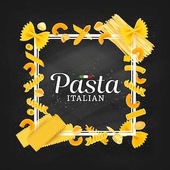 Pasta, cubierta de menú de restaurante de cocina italiana o marco