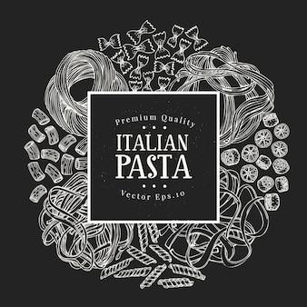 Pasta dibujada a mano. vector pasta tipos ilustraciones en pizarra. comida vintage