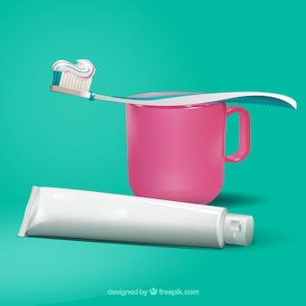 Pasta de dientes y cepillo de dientes con taza en estilo realista