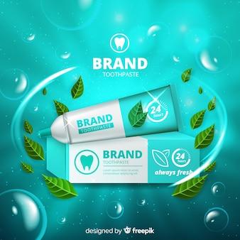 Pasta de dientes fresca anuncio estilo realista.