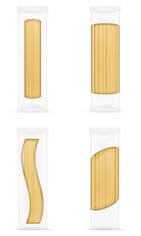 Pasta en la ilustración de vector de embalaje en blanco