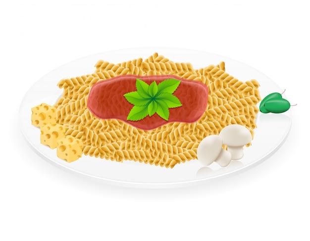Pasta en una ilustración de vector de placa