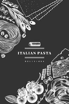 Pasta italiana con adiciones. mano dibuja la ilustración de alimentos en la pizarra. estilo grabado. fondo de diferentes tipos de pasta vintage.