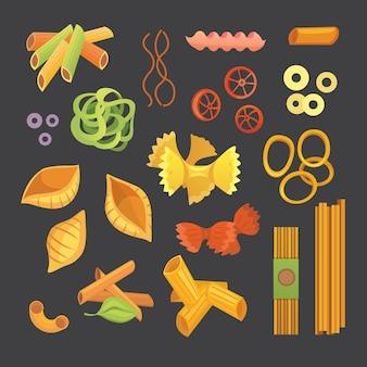 Pasta italiana en dibujos animados. diferentes tipos y formas de macarrones con. ravioles, espaguetis, tortiglioni ilustración aislada