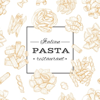 Pasta italiana. diseño de menú de comida. cartel de boceto dibujado a mano para restaurante de pasta, estilo vintage