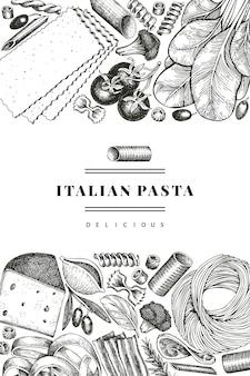 Pasta italiana con plantilla de diseño de adiciones. dibujado a mano ilustración de alimentos. estilo grabado. fondo de diferentes tipos de pasta vintage.