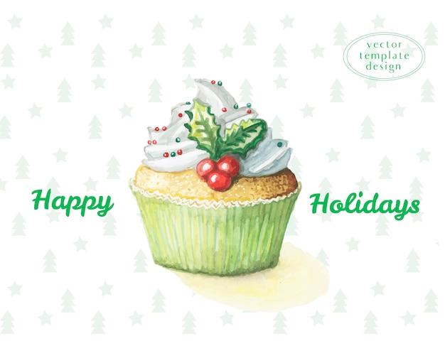 Pastel de acuarela dulzura cupcake para el año nuevo y feliz navidad