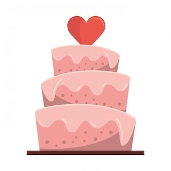 Pastel de boda con dibujos animados de corazón