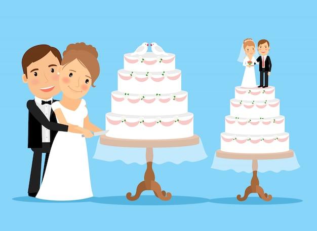 Pastel de boda con la novia y el novio