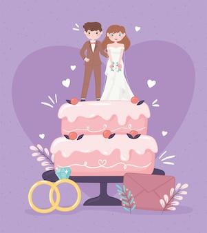 Pastel de boda con pareja