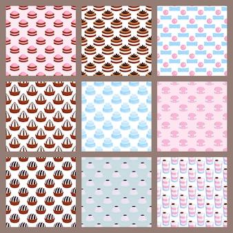 Pastel de boda tarta dulces postre panadería estilo plano simple de patrones sin fisuras