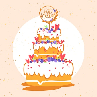 Pastel de bodas dibujado a mano con adorno