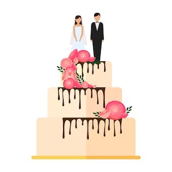 Pastel de bodas con lazos y toppers ilustración de novios en diseño plano