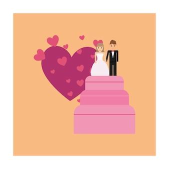 Pastel de bodas con pareja solo casado