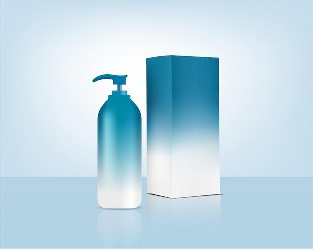 Pastel botella bomba maqueta realista cosmética orgánica y caja