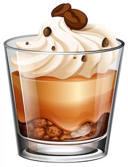 Pastel de café en vaso