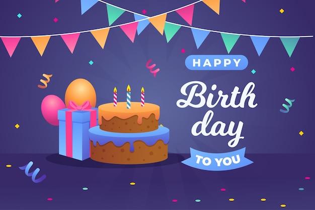 Pastel y caja de regalo de feliz cumpleaños