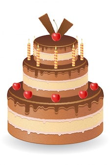 Pastel de chocolate con cerezas y velas encendidas ilustración vectorial