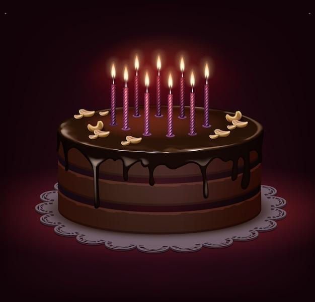 Pastel de chocolate de cumpleaños de vector con glaseado, nueces y nueve velas encendidas sobre fondo oscuro