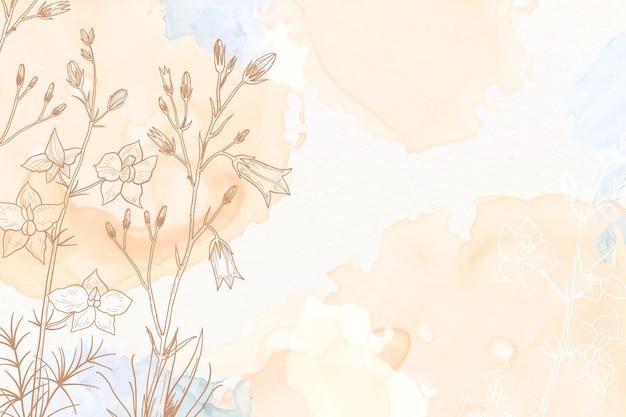 Pastel de crema en polvo con fondo de flores dibujadas a mano
