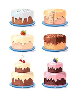 Pastel de crema sabrosas tortas vector conjunto en estilo de dibujos animados